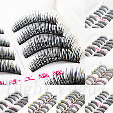 10 Pairs Handmade Natural Long Thick False Eyelashes Fake Eye Lashes 001 uv