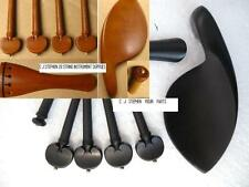 VIOLIN WOOD SET: CHIN REST, TAILPIECE, PEGS, END PIN,4/4-1/8, BROWN OR BLACK