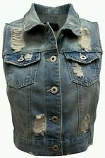 Women Junior Blue ripped Denim Jeans vest S,M,L Ci sono Cavalini fashion Button