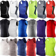 Mens Compression Vests Baselayer Tank Tops Sleeveless Gear T-shirt Singlet Shirt