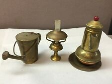 VTG Miniature Brass Doll House Teapot from Japan, Tray Chimney Lamp Watering Can