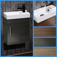 Bathroom Cloakroom Compact Cube Vanity Unit Cabinet with Ceramic Basin
