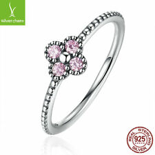 Christmas Gifts 925 Silver Oriental Blossom Pink CZ Ring For Women Romantic Ring