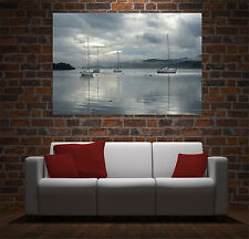 Wall Art Canvas Print Picture Sailing Boats Lake Clouds Sky Landscape -Unframed
