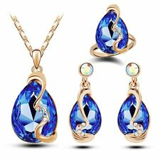 Elegant 18K Teardrop Necklace Earrings Ring Sapphire Crystal Jewelry Set Women