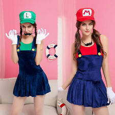 Ladies Super Mario Luigi Brothers Plumber Fancy Dress Up Party Costume+gloves ❁
