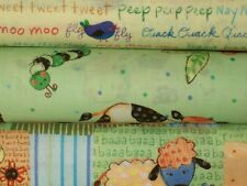 Fat Quarter Bundle  Lil Critters Farm Cow Duck Lamb Baby Kids Fabric FQs