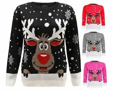 LADIES WOMEN,S KNITTED REINDEER CHRISTMAS XMAS JUMPER, SWEATER TOP. UK SIZE 8-26