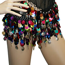 Sexy Hip Scarf Mardi GrasTribal Multi Color Belly Dance Skirt Paillette Coins
