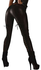 YIANNA Women's Gothic Punk Wet Look Leggings with Lace Up Back