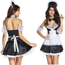 6pcs Sexy Head Maid Costume Dress French Maid Role Play Club Patchwork Strapless