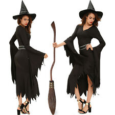 Women All Black Gothic Witch Halloween Costume Dress High Low Role Play Stage