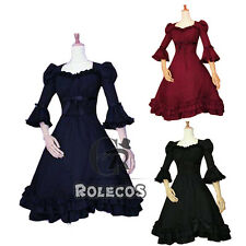 Women Punk Gothic Lolita Dress Ribbon Bownot Floral Court Sleeve Cosplay Costume