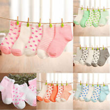5 Pairs Cute Baby Boy Girl Cartoon Cotton Socks Toddler Kids Soft Sock 0-6 Years