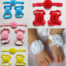 Newest Baby Flower Feet Flower with Headband Infant Barefoot Sandals for Babies