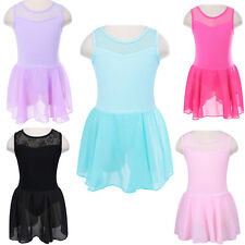 Kids Lace Cotton Ballet Dress Leotard Girls Sleevless Dance Skate Costume 3-12Y