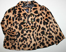 baby Gap NWT Girls 2T 3T Bryant Park Velour Leopard Cheetah Coat w Brass Buttons