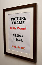Thin Mahogany Picture Frame with Mount,Choice of Ivory,Black or White Mount