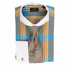 Dress Shirt Steven Land Cutaway Collar French Cuffs-OrangeBlue-DS1568-OR