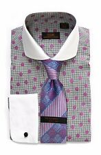 Dress Shirt by Steven Land Spread Collar  Rounded French Cuff-Purple-DW1600-PU