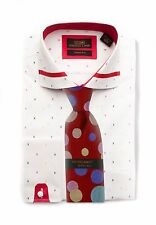Dress Shirt by Steven Land Spread collar  French Cuff- White/Red Trim -TA1636-WH