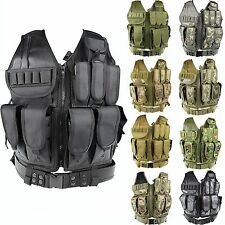 Tactical Airsoft Hunting SWAT Police Molle Protective Mesh Vest w/Pistol Holster
