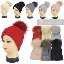 LADIES NEW KNITTED REAL FUR POM POM SKI WINTER WOOL BOBBLE BEANIE HAT