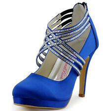 EP11085-PF Blue Round Toe Pump High Heel Crystal Strap Satin Evening Party Shoes
