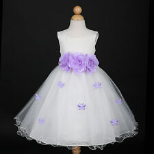 Ivory/Lilac Lavender Pageant Wedding Flower Girl Dress 6M 12M 18M 2/2T 4 6 8 10