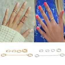 6pcs / Set Gold Urban Rings Crystal Above Knuckle stacking Band Midi Mid CO99