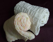 Handmade Gift Knitted & Crochet Baby Blanket Peach / White Muslin Squares Boots