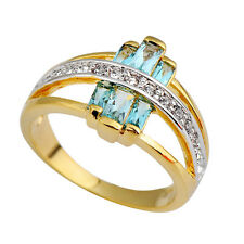 Wedding Ring Cubic Zirconia Blue Crystal Women's 10Kt Yellow Gold Filled Sz 6-10