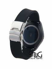 Black Sport Replacement Watch Band w Polished Stainless Steel Deployant Buckle