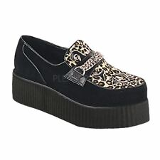 Demonia by Pleaser Platform Punk Goth Chained Vegan Creeper Shoe Black/Cheetah