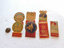 Job lot of 7 Coca-Cola sponsor winter olympics metal lapel pins