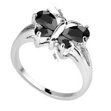 Black Sapphire Crystal 10KT Women's White Gold Filled Wedding CZ Ring Size 6-10