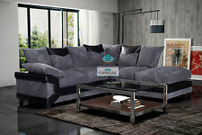 NEW Dino Black/Grey - Beige/Brown Sofa Suite 3+2 + Corner With Large Foot Stool