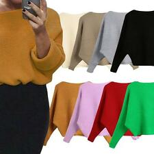 Womens Sweater Knitted Pullover Batwing Sleeve Loose Knitwear Top Jumper N9V7
