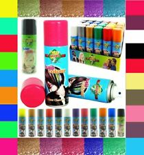 NEW TEMPORARY WASH OUT FLUORESCENT GLITTER COLOUR HAIR SPRAY STAGE PARTY