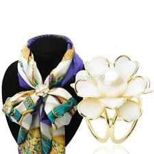 Womens Scarf Ring Holder Wedding Party Flower Brooch Buckle Jewelry Gold Silver