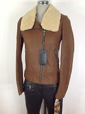 Andrew Marc NWT Nutmeg Glamorous leather jacket with Lamb  fur collar ,XS