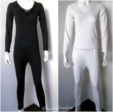 Ladies V Neck Merino Wool Blend Thermal Underwear 2pc Set (Sz 10-22)