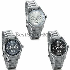 Luxury Classic Dial Stainless Steel Strap Band Mens Quartz Analog Wrist Watch