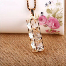Cylinder  New Pendant  Long chain Necklace  Three zircons Crystal  Hollow