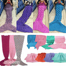 Kids/Adult Fish Scale Mermaid Tail Crocheted Knit Bedding Sofa Bed Throw Blanket
