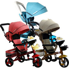W78t Kid Trike Bike Main Stroller Tricycle Pram With Music Push Ride Pushchair