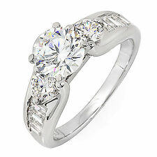 GIA 2.86 Carat Round and Baguette Shape Antique Style Diamond Engagement Ring
