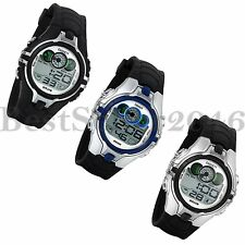 Multifunction Waterproof Silicone Band Mens Sport Digital Electronic Wrist Watch