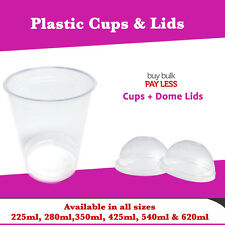 Disposable Plastic Clear Cups with Dome Lids 225ml, 280ml,350ml, 425ml, 540, 620