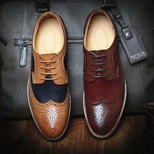 Mens boys Dress shoes Brogues Casual wingtip Oxfords Business Formal Shoes size